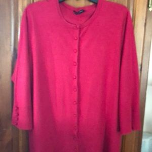 Audrey & Grace Plus Size Red Cardigan Sweater 2X